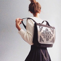 Hip backpack / unique canvas backpack / large school bag / strong and durable design / black pvc and canvas / all vegan and proud
