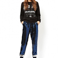 Blue and Silver Sequin Joggers With Elastic Drawstring Waist