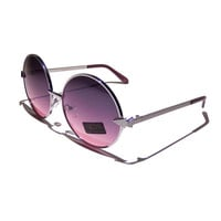 FREE SHIPPING, Round oversized boho chic hippie hippy lennon vintage retro 60s 70s metal rim sunglasses with purple and pink ombre lenses
