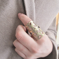 Statement Ring Knuckle Ring Antique Brass Ring Hardware Jewelry Large Cocktail Ring Finger Armor A Game of Thrones Big Ring