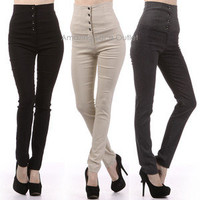 HIGH WAIST Button Sailor Dress Pants Waisted Pinup Fitted Slim Skinny Leggings