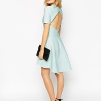 ASOS Skater Dress in Texture With Cut Out Back And Dipped Hem