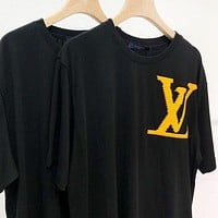 Louis Vuitton Summer Men Women Casual LV Letter Print Short Sleeve T-Shirt Top Blouse