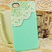 iphone 4 case, iphone 4s case iphone 4 cover - lace pearl iphone case