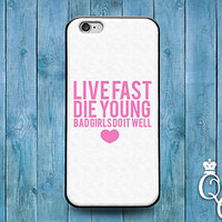 Cute Pink Heart Bad Girl Quote Case Funny Cover iPod iPhone White Cool Girly Fun