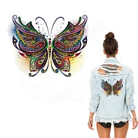 New Multicolor butterfly stickers 26*19.7 cm iron on patches DIY patch on clothes jacket thermal transfer