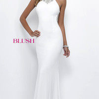 Blush Prom Dress with Beaded Illusion Back