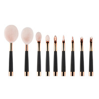 Rose Gold And Pink Cosmetic Oval Makeup Brush Set 9Pcs