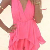 Pink V-Neck Sleeveless Chiffon Romper