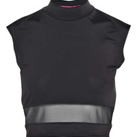 Brooke Roll Neck Mesh Insert Slinky Top