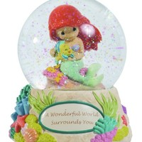 """Precious Moments Disney Ariel Holding Toy Flounder Waterball """"A Wonderful World Surrounds You"""""""