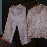 FAB  1940 Pink floral WOMENS satin tailored  high waist  pajamas by WB Weisman