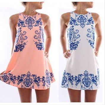 Paisley Print Dress - Pink/White