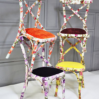 4 x colorful floral Thonet dining chairs (custom order)