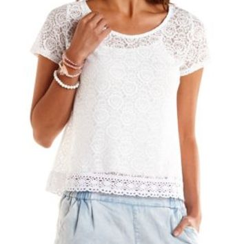 Crochet-Trim Sheer Lace Tee by Charlotte Russe