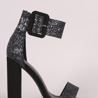 Glitter Encrusted Ankle Cuff Suede Chunky Heel