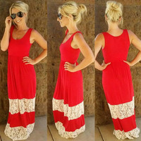 The sweetest thing lace maxi dress in red
