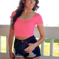Sweet On You Crop Top - Hot Pink