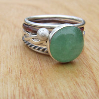 Sea Green Gemstone Silver Stacking Set by RootsJewelry on Etsy