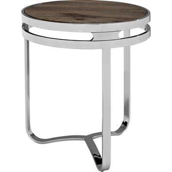 Provision Wood Top Side Table Brown Pine & Stainless Steel