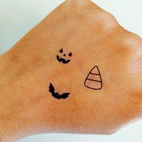 Halloween Collection Temporary Tattoo Tiny / Fake Tattoos / Set of 15 / bats candy corn pumpkin