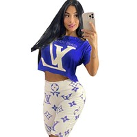 LV Louis Vuitton fashion casual women's printing printing and dyeing summer casual two-piece suit Blue