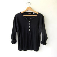 vintage black long sleeve top. button front henley. minimalist shirt.