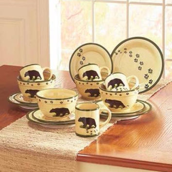 Dinnerware Bear Rustic Primitive Lodge Cabin Country Paw Print Dishes Plates Bowls Mugs NEW