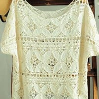 Hollow-out Lace Crochet Batwing Short Blouses