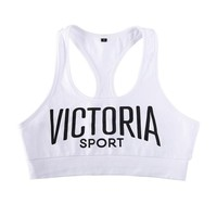 Woman Yoga Sports Bra Female Fitness Gym Running Underwear Victoria Sport Letter Printing Quick-drying Shockproof Workout SCL012