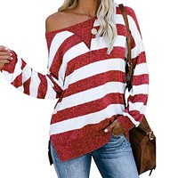 fhotwinter19 Hot sale casual loose color matching striped long sleeve women's T-shirt