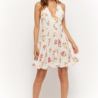Floral Button-Front Fit & Flare Dress