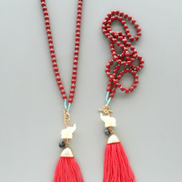 Red Beaded Elephant Tassel Necklace