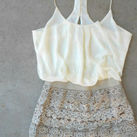Crochet Macchiato Party Romper : Feminine, Bohemian, & Vintage Inspired Clothing at Affordable Prices, deloom