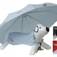 Petego United Pets Easy Drops Pet Umbrella and Coat Set, Light Blue, 42 Inches by 23.5 Inches