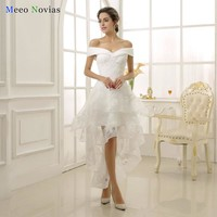 Robe De Mariage 2017 Elegant Vintage Lace Beach High Low Wedding Dresses Short in Front Long Back Bridal Gown Real Photo
