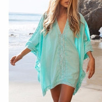 Fashion V-neck Bikini Beach Cover Up Womenbeach Suit Cover Ups, Beach Clothing,Swimwear Cover Up Women (Size: L, Color: Sky blue) = 1956898628