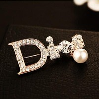 8DESS Dior Women Fashion Diamonds Brooch Jewelry