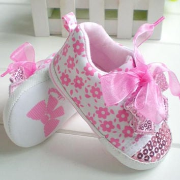 Girls Baby Pink Flower Shoes