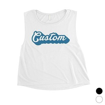 Blue Pop Up Text Fun Bright Womens Personalized Crop Tops