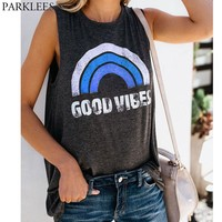 2018 Fashion Tank Top Women Rainbow Print T Shirt Summer Casual O Neck Sleeveless Shirt Harajuku Hippie T-shirt Tops Vest Blouse