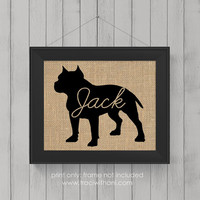 """Pitbull """"Pittie"""" Love (Option 1) - Burlap or Canvas / Wall Art Print for Dog Lovers: Great Gift / Personalized (Free Shipping)"""