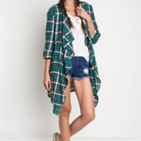 Flannel Cardigan Jacket - Green