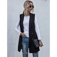 Lapel Collar Double Breasted Belted Vest