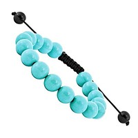 10mm Treated Turquoise And Black Cord Bracelet