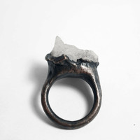 Burnished Free-Formed Chalcedony Dark Copper Ring (7.5-8)