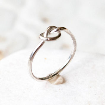 love knot ring, Sterling silver ring, Stackable ring, infinity ring,Celtic knot ring, Promise ring,Purity ring,Friendship ring,16 Gouge wire