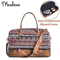 Mealivos 2017 Fashion Canvas large  Weekender Women Bag Overnight Travel bag Carry On Duffel with Shoe Pouch Duffel Bags