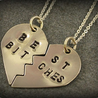 Hand Stamped Best Bitches Necklaces - Best Friend Jewelry - BFF Jewelry - Best Bitch Charms - Nickel Silver