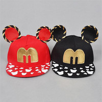 2016 New Child Casquette Snapback Caps Baseball Cap with Mickey ears Funny Hats Snapbacks Bone Hip Hop Plana Aba Reta Children